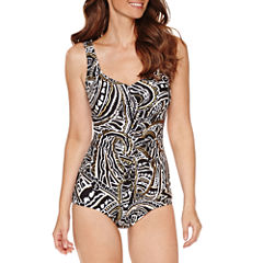 Azul by Maxine of Hollywood Paisley Girl Leg One Piece Swimsuit