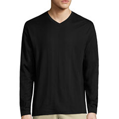 Claiborne Drop Needle Long Sleeve V Neck T-Shirt