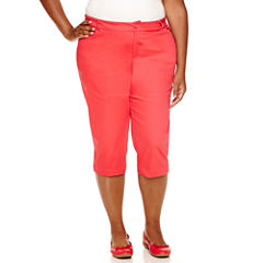 St. John's Bay® Secretly Slender Twill Cropped Pants - Plus