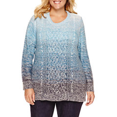 St. John's Bay Long Sleeve Crew Neck Layered Sweaters-Plus