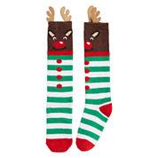 Reindeer Fuzzy Knee High Sock