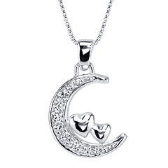 Sterling Silver Cubic Zirconia Moon Pendant Necklace