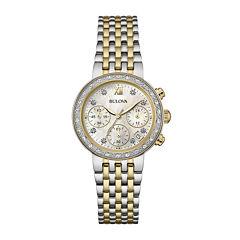 Bulova® Diamonds Maiden Lane Womens Diamond-Accent Two-Tone Watch 98R214