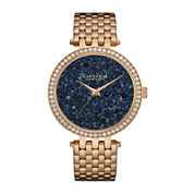 Caravelle New York® Womens Crystal-Accent Rose-Tone Stainless Steel Bracelet Watch 44L186