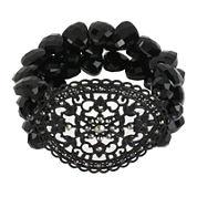 Worthington® Black Stone 3-Row Stretch Bracelet