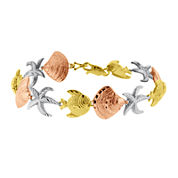 10K Tri-Tone Gold Nautical Sea Life Bracelet