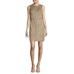 Spense Sleeveless Faux Suede Sheath Dress