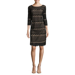 Ronni Nicole 3/4 Sleeve Fringe Lace Shift Dress