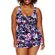 Azul by Maxine of Hollywood Floral Swim Dress - Plus