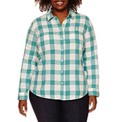 St. John`s Bay Relaxed Fit Long Sleeve Button-Front Shirt-Plus