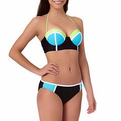 Arizona Colorblock Push-Up Midkini Swim Top or Colorblock Hipster Swim Bottoms