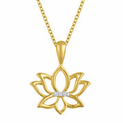 Womens White Diamond Accent 14K Gold Over Silver Pendant Necklace