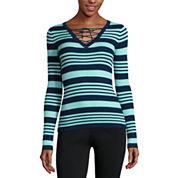 Ohmg Long Sleeve V Neck Pullover Sweater-Juniors