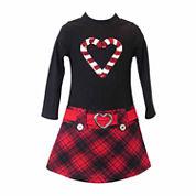 Lilt Long Sleeve Drop Waist Dress - Preschool