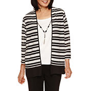 Alfred Dunner Wrap It Up 3/4 Sleeve Crew Layered Sweater
