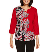 Alfred Dunner Wrap It Up 3/4 Sleeve Paisley Print Top