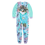 Girls Long Sleeve One Piece Pajama-Big Kid