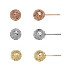 14K Tri-Tone Gold Textured 3-pr. Ball Stud Earring Set