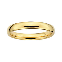 Personally Stackable 18K Yellow Gold Over Sterling Silver 3.5mm Rounded Ring