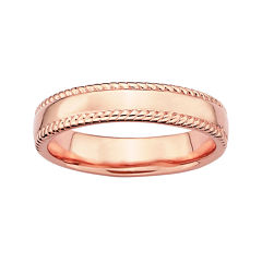 Personally Stackable 18K Rose Gold Over Sterling Silver 1.5mm Milgrain Band Ring
