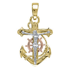 Infinite Gold™ Mens 14K Tri-Tone Gold Anchor Crucifix Pendant
