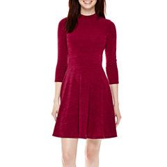 Decree® 3/4-Sleeve Skater Dress- Juniors