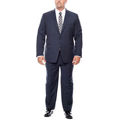 Claiborne Stretch Blue Neat Suit-Big and Tall Fit