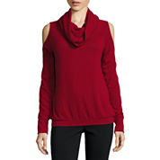 i jeans by Buffalo Long Sleeve Cowl Neck Cold Shoulder Sweater