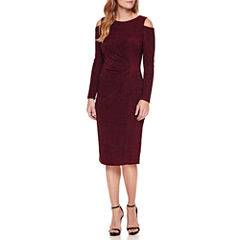 Liz Claiborne Long Sleeve Cold Shoulder Sheath Dress