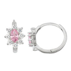 Pink Cubic Zirconia Sterling Silver Hoop Earrings