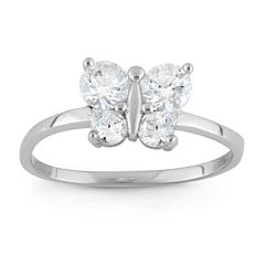 Girls White Cubic Zirconia Delicate Ring