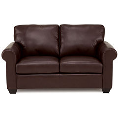 Leather Possibilities Roll-Arm Loveseat