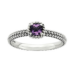 Personally Stackable Checker-Cut Genuine Amethyst Ring