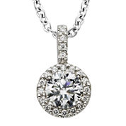 Diamonore™ 1 CT. T.W. Simulated Diamond Halo Pendant Necklace