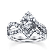 Diamonore™  1-1/5 CT. T.W. Simulated Diamond Marquise-Cut Bridal Ring Set