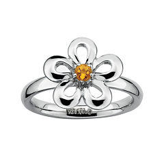 Personally Stackable Genuine Citrine Sterling Silver Flower Stackable Ring