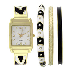 Womens Square Dial Bangle Watch and Bracelet Set