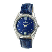Peugeot® Womens Crystal-Accent Blue Dial Blue Leather Strap Watch 3038BL