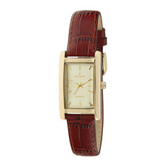 Peugeot® Womens Rectangular Brown Leather Strap Watch 3007BR
