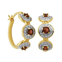 Classic Treasures™ Genuine Garnet and Diamond-Accent Hoop Earrings