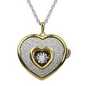 Love in Motion™ 1/10 CT. T.W. Diamond Two-Tone Heart Locket Pendant Necklace