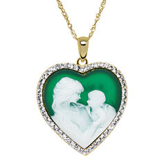 Crystal 14K Gold Over Silver Green Resin Cameo Pendant Necklace