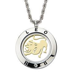 Leo Zodiac Reversible Two-Tone Stainless Steel Locket Pendant Necklace