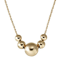 14K Yellow Gold Graduated Bead Frontal Necklace