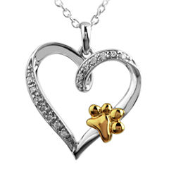 ASPCA® Tender Voices™ Diamond-Accent Paw Print Heart Pendant Necklace