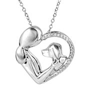 ASPCA® Tender Voices™ ⅛ CT. T.W. Diamond Woman & Dog Heart Pendant Necklace