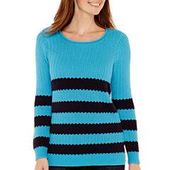 Liz Claiborne® Long-Sleeve Striped Stitch Sweater