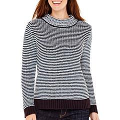 Liz Claiborne® Long-Sleeve Mockneck Textured Sweater
