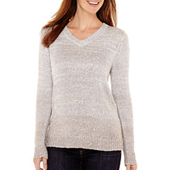Liz Claiborne® Long-Sleeve V-Neck Ombré Sweater