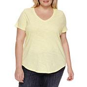 Stylus Short Sleeve V Neck T-Shirt-Plus